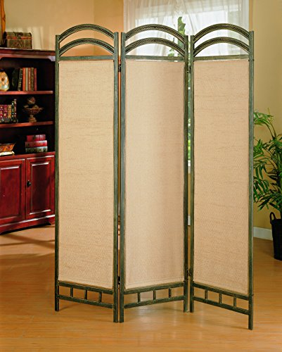 3-Panel Folding Floor Screen Graphite and Tan