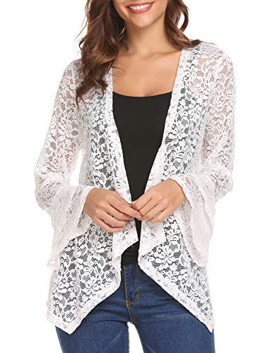 Deawell 3 4 Sleeve Cardigan Womens Plus Size Lace Crochet Jacket Open Front Cover up (White, XXL) -