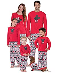 Mickey Mouse Minnie Mouse Matching Family Pajamas, Red