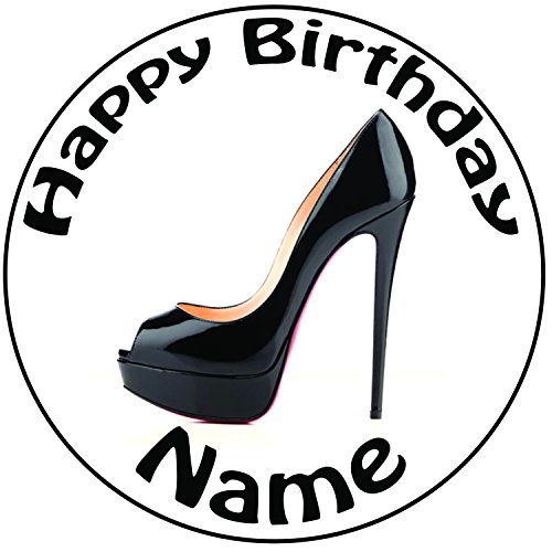 """Price comparison product image AKGifts Personalised Black High Heel Shoe Cake Topper - A Pre-cut Round 8"""" (20cm) Icing Decoration"""