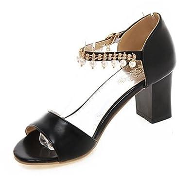 0024e5d3f6c2 Easemax Women s Elegant Rhinestone Peep Toe Ankle Strap Medium Block Heels  Sandals Black 4 B(