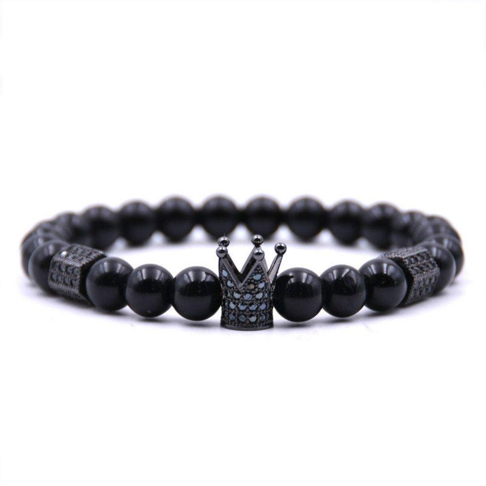 USUASI 1PC fascino donne e uomini corona di perline braccialetto fatto a mano con perline in pietra lavica 8mm Brown 6.5in-7.5inch YANGNAN ZB437