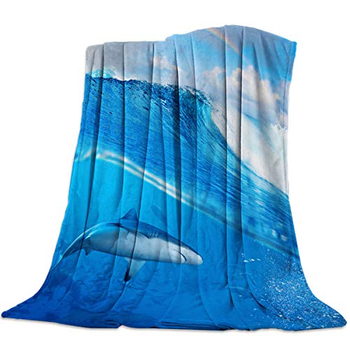 Microfiber Blanket Suitable for All Season,Couch Sofa Bed Blanket,Ocean Shark Underwater World Rainbow Print (50 x 80 Inches),Non Shedding,Super Soft Cozy