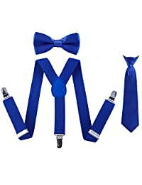 Boys Suspender Bowtie Necktie Sets - Adjustable Elastic Classic Accessory Sets for Boys & Girls (Royal Blue)
