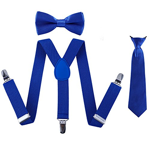 Bow Necktie - Kids Suspender Bowtie Necktie Sets - Adjustable Elastic Classic Accessory Sets for Boys & Girls (Royal blue)