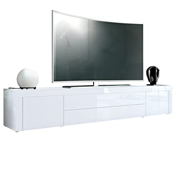tv unit white. tv stand unit la paz, carcass in white high gloss / front tv w