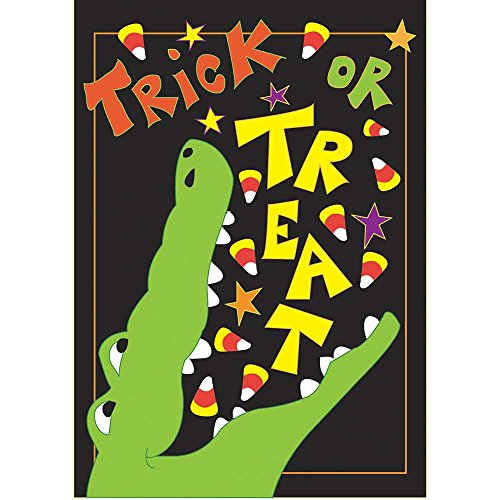 Trick or Treat Alligator on Black 18 x 13 Rectangular Double Applique Small Garden Flag]()