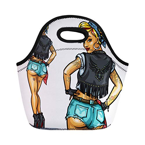 - Semtomn Lunch Bags Sexy Tattoo Pretty Pin Up Girl White Biker Pinup Neoprene Lunch Bag Lunchbox Tote Bag Portable Picnic Bag Cooler Bag