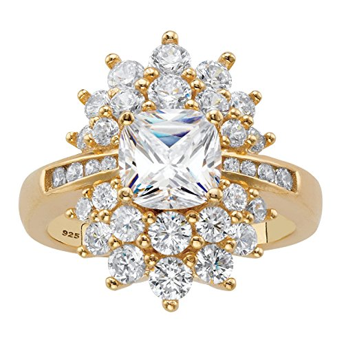 14K Yellow Gold over Sterling Silver Cushion Cut Cubic Zirconia Flower Starburst Ring Size 10 14k Yellow Gold Starburst