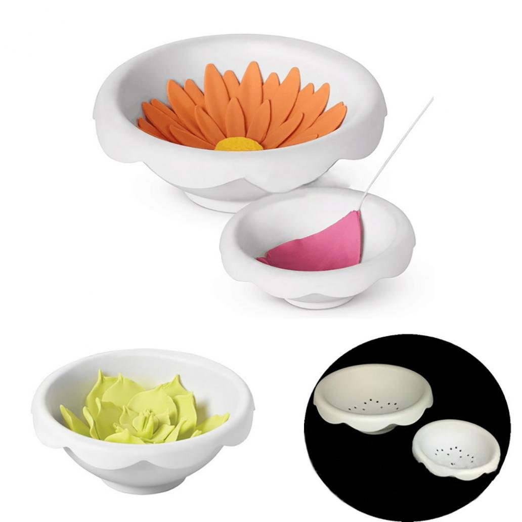 KaariFirefly 2Pcs/Set Plastic Sugar Paste Flower Drying Mold Fondant Cake Decor Baking Tool - White
