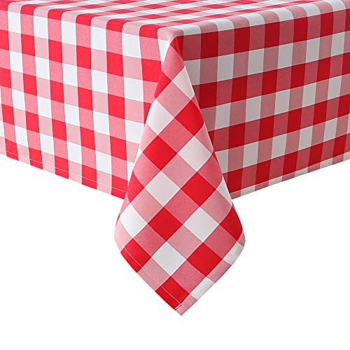 Red Plaid Tablecloth (Homedocr Red and White Checkered Tablecloth Rectangle - Stain Resistant, Waterproof and Washable Plaid Table Cloth for Picnic, Holiday Dinner and Kitchen, 60 x 120)