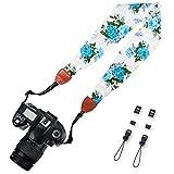 Elvam Scarf Camera Neck Shoulder Strap Belt for Nikon / Canon / Sony / Olympus / Samsung / Pentax / Mini 9 / Mini 8 / Mini 7s / Mini 25 / Mini 50s / DSLR / SLR / DC / Instax Camera - Blue Flower