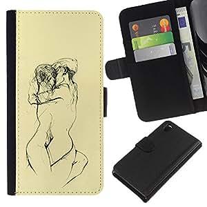 A-type (Amarillas Lovers Sketch Lápiz Desnudo) Colorida Impresión Funda Cuero Monedero Caja Bolsa Cubierta Caja Piel Card Slots Para Sony Xperia Z3 D6603
