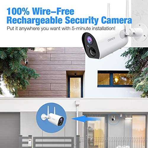 Wireless Rechargeable Battery Powered Camera 2pc , Conico Outdoor Security Camera 15000mAh, 1080P WiFi Surveillance Camera for Home with Night Vision, Two Way Audio, PIR Motion Detection