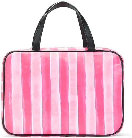 Victorias Secret - Estuche de viaje con colgante, diseño de rayas, color rosa: Amazon.es: Belleza