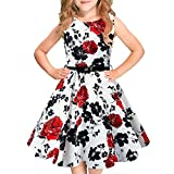 Funnycokid Girls Vintage Dress Sleeveless Swing Party Dresses with Belt 6-13 Years