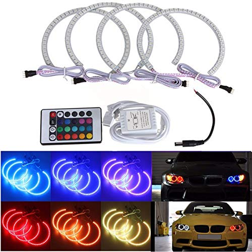 Coohole-Car Accessary 4PCS Latest Multi-Color RGB LED Angel Eyes Halo Ring for BMW E36 E38 E39 E46 M3 Ship from USA (A)