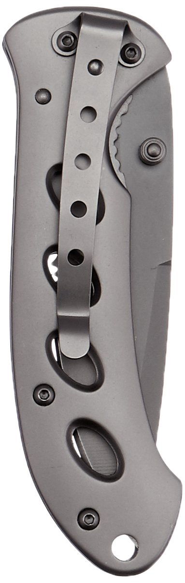 Smith & Wesson SW423BS Oasis Serrated Drop Point Blade Knife, Titanium Coated Handle and Blade