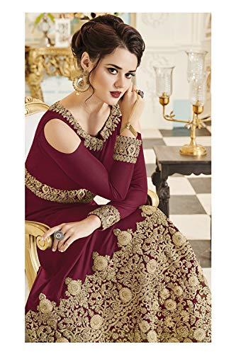 Indian Partywear Women Kameez Ethnic Marron Designer Salwar Traditonal TrT8xnU