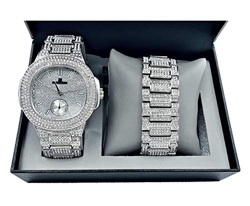 Bling-ed Out Oblong Case Metal Mens Watch w/Matching Bracelet Gift Set - 8475B - Silver (Watch Chain Bracelet)