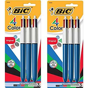 BIC 4-Color Ballpoint Pen 1.0mm 3-Count Medium Point Assorted Inks