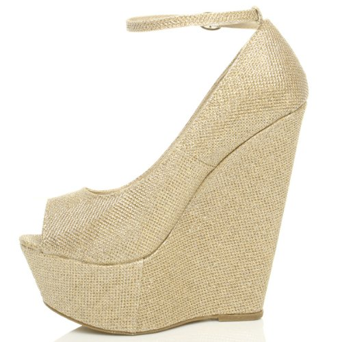 Womens ladies high heel wedge platform peep toe court shoes ankle strap sandals size Gold Shimmer Glitter s25CEq