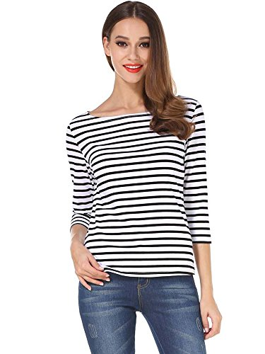 MSBASIC Women's 3/4 Sleeve Boat Neck Striped Relax Fit Tee Shirts