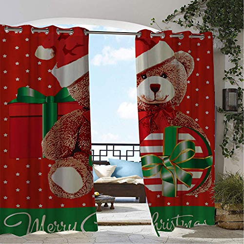 Linhomedecor Outdoor Waterproof Curtain Merry Christmas Vermont Teddy Bear Gift pergola Grommet Patterned Curtain 108 by 108 inch