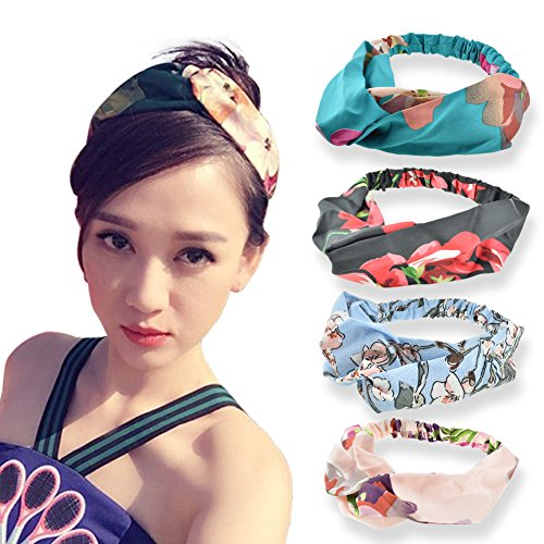 DRESHOW Silk Headbands Vintage Elastic Printed Head Wrap Stretchy Elastic Hairband Twisted Cute Hair Accessories,4 Pack (Pink Black Blue Green) Fabric Hair Bands