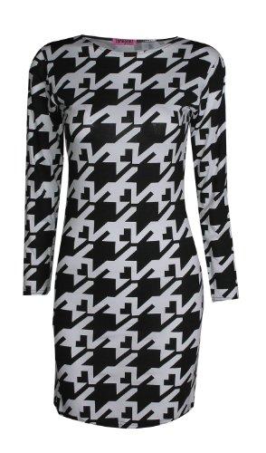 Fast Fashion - Robe Moulante Manches Longues Dents De Chien Vérifier Imprimer Extensible - Femmes (SM = EUR (36-38), Dent Chien Noir / Blanc)