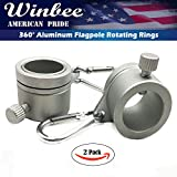 Aluminum Flagpole Rotating Rings - 2 Pack - 1'' Mounting Rings - Lightweight Durable Design with Carbiner - Tangle Free Never Furl Spinning Flagpole Ring Fasteners(Silver)