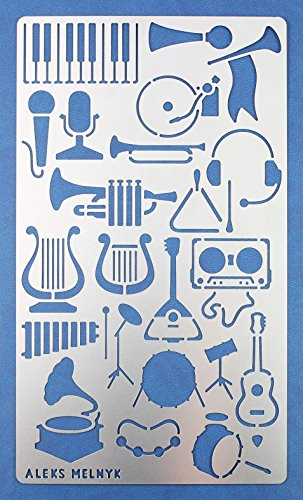 Aleks Melnyk 18 Bullet Journal Stencil Metal/Set Shapes Music/Stainless Steel Planner Stencils Journal/Notebook/Diary/Bujo/Scrapbooking/Graffiti/Crafting/Spray Paint/DIY Drawing Template Stencil