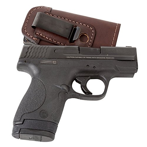 The Defender Leather IWB Holster - Made in USA - For S&W M&P Shield - GLOCK 17 19 22 23 32 33 / Springfield XD & XDS / Plus All Similar Sized Handguns – Brown – Right Handed (Shield Tactical)