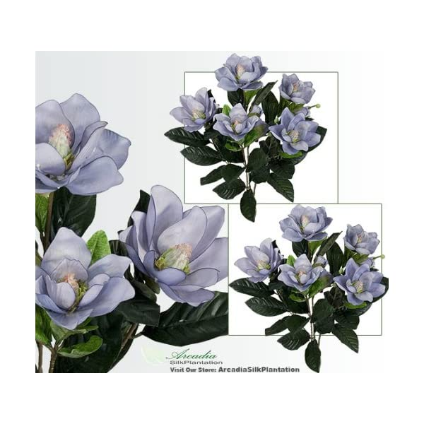 TWO 2′ Magnolia Artificial Silk Flower Bushes (Light Blue) for Home, Garden and Decoration