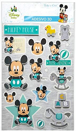 Adesivo 3D 14X21 Cm Baby Mickey C/3 Un, Toke E Crie, Add03, Multicolorido