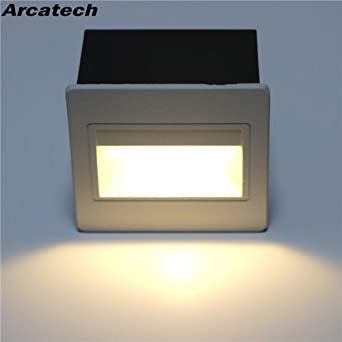 GYBYB 5W con caja incrustada Luces de aluminio de paso Al aire libre Impermeable IP65 Led Escalera Exterior Lámpara de pared LED Lámpara de pie NR-15 @ Cold_White_Black_body: Amazon.es: Iluminación
