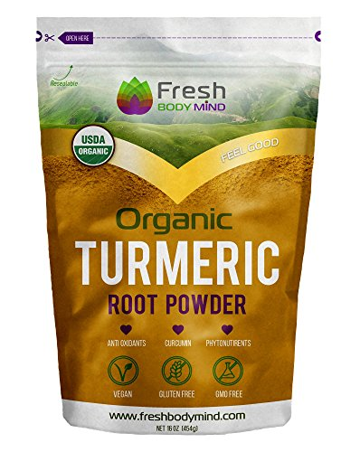 Golden Root Blend (Fresh Body Mind Organic Turmeric Root Powder 16oz w/ Anti-Aging Antioxidants & Curcumin - Perfect for Smoothies, Cooking & Golden Milk - Vegan Anti Inflammatory Superfood- Gluten & GMO)