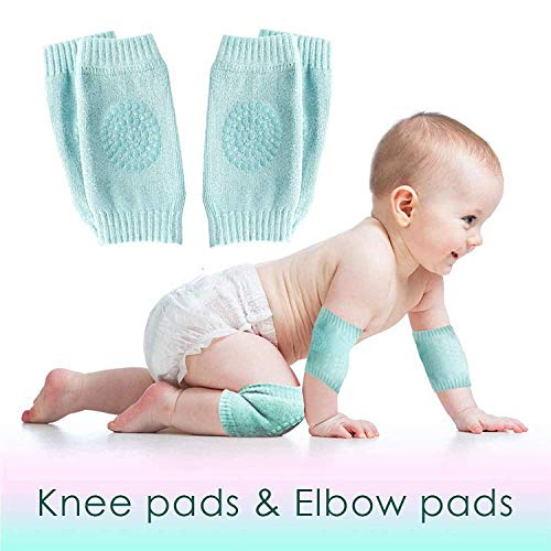 Set of 2 Baby Knee and Elbow Pads for Crawling Toddlers, Girls, Boys | Infant Pads for Baby Crawling | Unisex Anti-Slip Protective Knee Pads Cushion for Kids | Safety Leg Warm Accessories