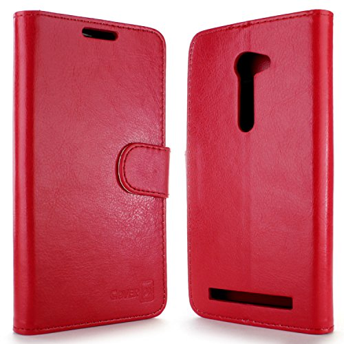 Asus Zenfone 2E Wallet Case [CoverON Executive Series] Flip Stand Wallet Pouch and LCD Screen Protector [Faux Leather w/Credit Card Slots] Phone Cover for Asus Zenfone 2E (5.0 inch) - Red ()