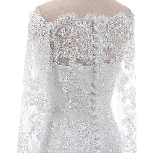 FWD002 Floor Lily Bridal Long Wedding 2018 Women's Wedding Length Ivory Off Shoulder Dress Gown Sleeve OwwxZ4BqPC