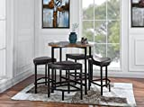 Round Table with 4 matching Chairs, 5 Piece Kitchen Dining Set (Brown)