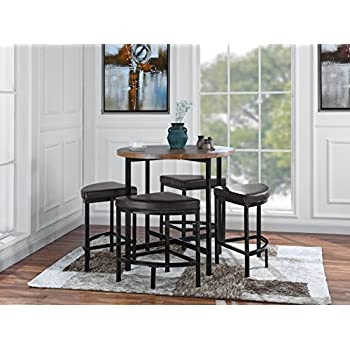 Amazon Com 5 Piece Compact Round Dining Set Home Living