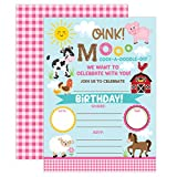 YME Farm Birthday Invitation, Girl Barnyard Invites Farm Birthday Party, Girls Barnyard Birthday invite, 20 Fill In Pool Party Invitations With Envelopes