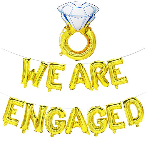 (We are Engaged Balloon Banner with Diamond Ring | Engagement Party Decorations)