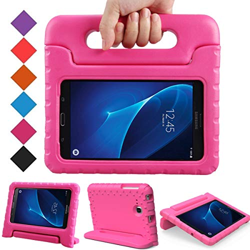 BMOUO Kids Case for Samsung Galaxy Tab A 7.0 - EVA ShockProof Case Light Weight Kids Case Super Protection Cover Handle Stand Case for Kids Children for Samsung Galaxy Tab A 7-inch Tablet - Rose (6 In Tablet Covers)