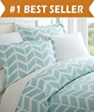 Size Difference Between King and California King Celine Linen Luxury Silky Soft Coziest 1500 Thread Count Egyptian Quality 3-Piece Duvet Cover Set |Arrow Pattern| Wrinkle Free, 100% HypoAllergenic, King/California King, Turquoise