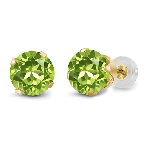 Gem Stone King 1.80 Ct Round Green Peridot 14K Yellow Gold 4-prong Stud Earrings 6mm