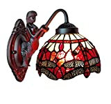Tiffany Style Wall Lamp Red White Dragonfly Mermaid Arch 1 Light Stained Glass Wall Fixture Handmade Antique Vintage for Bedroom Living Room 8