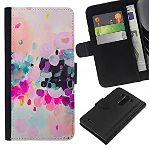 KingStore / Leather Etui en cuir / LG G3 / Colorido Moderno púrpura Arte;
