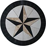 Tile Floor Medallion Marble Mosaic Texas Star Cowboys Design 24''